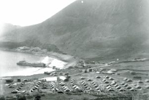 The 'tent city' set up by servicemen was twice blown away in the storms that hit St Kilda. PIC: NTS/Contributed.