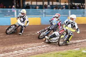 Heat  3: Josh  Pickering  goes between Matthew Wethers and Lasse Bjerre. Picture: Ron MacNeill