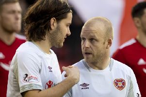Peter Haring, left, and Steven Naismith, right, are key men at Hearts. Pic: SNS