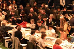 The votes in the first Scottish Parliament election are counted at Meadowbank. Picture: Paul Chappels