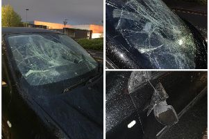 Vandals targeted Kelley's car on Friday evening. Pictures: Contributed