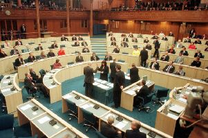 The swearing in of the new MSPs in the Scottish Parliament on The Mound in May 1999