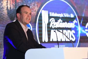 Edinburgh Restaurant Awards 2019 The Principal, George Street Monday 13th May  Headline Sponsor Bestway Wholesale's David Livingstone   Neil Hanna.