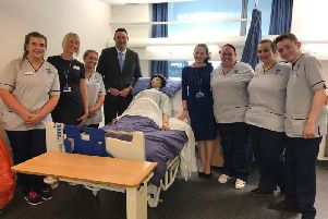 Scottish Conservative MSP Miles Briggs with some trainee nurses.
