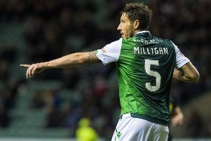 Mark Milligan in action for Hibs. Picture: SNS
