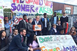 A petition is handed in at the immigration centre in Glasgow against treatment of brothers  'Somer and Areeb Bakhsh, who are 16 and 14. PIC: Contributed.