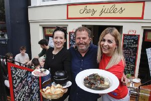 Chez Jules are having a free food day in June, L-R Aida Quiros, Pierre Levicky and Kasia Panis