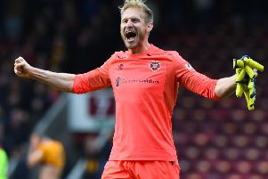 15/09/18 LADBROKES PREMIERSHIP'MOTHERWELL V HEARTS (0-1)'FIR PARK - MOTHERWELL'Hearts goalkeeper Zdenek Zlamal celebrates at the end of the match