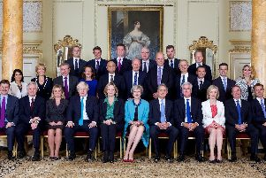 Handout photo issued by Downing Street of members of Prime Minister Theresa May's Cabinet when it first convened in 2016. Picture: PA Wire