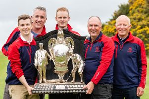 Mortonhall team members from left, Alex Main, Graeme Clark, Steven Scott, Ian Dickson and Duncan Hamilton show off the Dispatch Trophy. Pic: Ian Georgeson
