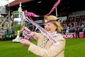 Hearts owner Ann Budge with the Championship trophy in 2015