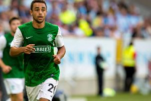 Tom Taiwo in action for Hibs in 2013