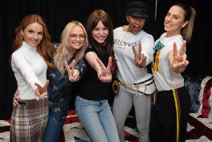 Emma McKean with the Spice Girls. Pic: contributed.
