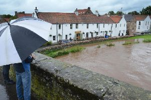 The Riber Tyne in Haddington breached its banks in places. Pic: Jon Savage