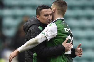 Paul Heckingbottom hugs Flo Kamberi. The Hibs boss has hailed the Swiss striker's qualities