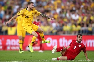 Martin Boyle scores for Australia against Lebanon in Sydney last November