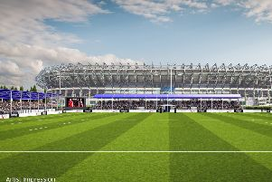 An artist's impression of the new 7,800-capacity stadium on the back pitches of BT Murrayfield. Work has yet to start on the project.
