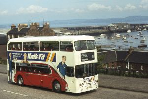 A part of Granton no longer served by buses. 1982  Alexander bodied Leyland Atlantean AN68/1R 630 (CSG 630X) climbs from Granton Square on service 9 which used to operate to Torphin.