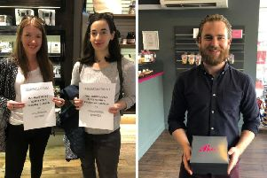 Two women picking up their Hotel Chocolat prizes and one man with his Bibi's Bakery cupcakes. Pictures: contributed.