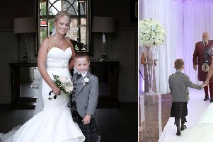 Maxine Connelly on her wedding day with son Jack. Picture: SWNS