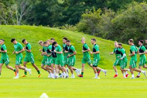 The Hibs squad are put through their paces at East Mains