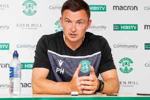 Paul Heckingbottom addresses the media ahead of Hibs' Betfred Cup opener against Stirling Albion