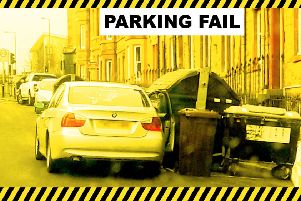 Council campaign poster shows how bad parking stops bins being emptied