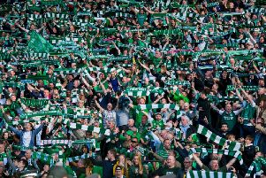 Hibs fans celebrate after defeating Rangers in the 2016 Scottish Cup final.