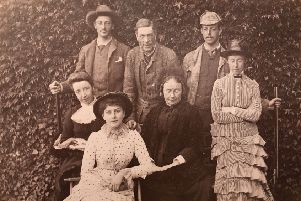 Janet Coats Black (far left) and her husband James Tait Black (back row middle) pictured in 1883 (Images by courtesy of Michael Bruce, Glen Tanar. Picture: Lucinda Byatt)