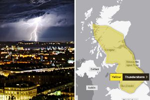 Experts at the Met Office have issued a yellow weather warning for large parts of Scotland. PIC LEFT: Kevin  Klein