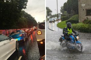 Heavy downpours and flooding caused traffic chaos on Wednesday.