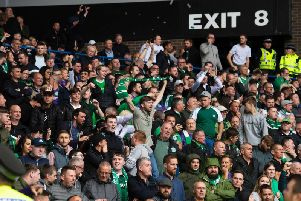 Hibs fans sold out their allocation at Ibrox but watched their side hammered. Picture: SNS
