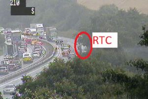 Traffic is reportedly gridlocked westbound on the bypass following the collision.