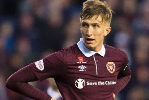 Daniel Baur opened the scoring for Hearts at Prestonfield