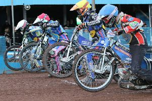Monarchs and Eastbourne riders push off from the tapes at Armadale. Pic: Jack Cupido