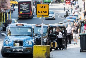 The current taxi rank on Market Street outside Edinburgh Waverley station
