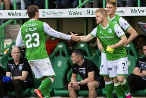 Scott Allan is substituted for Daryl Horgan during the 2-2 with St Johnstone. Pic: SNS