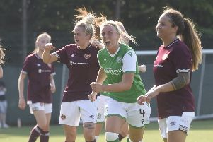 Siobhan Hunter celebrates scoring Hibs Ladies' equaliser. Pic: Greg Macvean