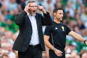 Craig Levein saw Hearts suffer defeat at Celtic Park.