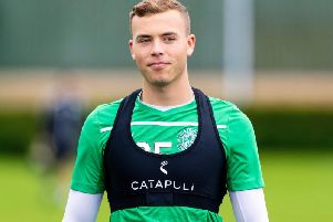 Ryan Porteous takes part in a training session at Hibs' East Mains complex