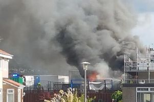 Fire crews arrived to tackle the blaze at around 3:45pm on Sunday.