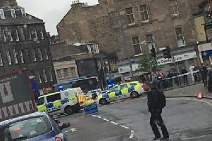 The scene of the incident at the foot of Leith Walk. Picture: Darren McQueenie