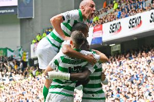 Scott Brown celebrates during Sunday's Old Firm victory at Ibrox.