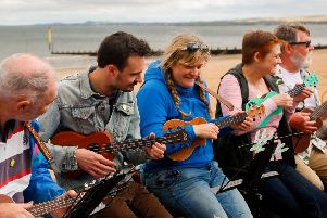 Portobello Promenade was jam-packed with talent for the Big Beach Busk. Picture: Scott Louden