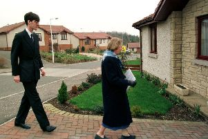 Jacob Rees-Mogg on the campaign trail in Glenrothes with his nanny in tow. Picture: Hamish Campbell