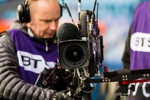 BT Sport camera crews film at a Scottish Premiership match. Top-flight fixtures from Scotland will be screened live in Italy this weekend