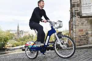 One of the Pashley e-bilkes being put through its paces on Ramsay Lane in Edinburgh. Picture: Serco