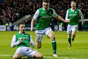 Jamie Maclaren, left, celebrates scoring against Hearts in March 2018. Pic: SNS