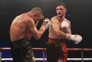 Jason Easton, right, pictured fighting the Czech Republic's Josef Zahradnik. Pic: SNS