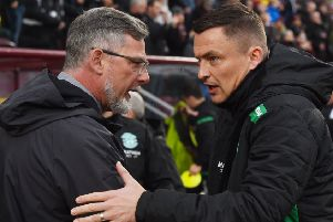 Hibs head coach Paul Heckingbottom, right, and in 'particular Hearts boss Craig Levein, are under pressure going into the derby